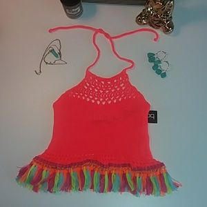 NWT Coachella neon crochet halter with tassles